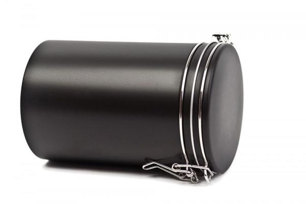 Boîte à café ronde, noire matte